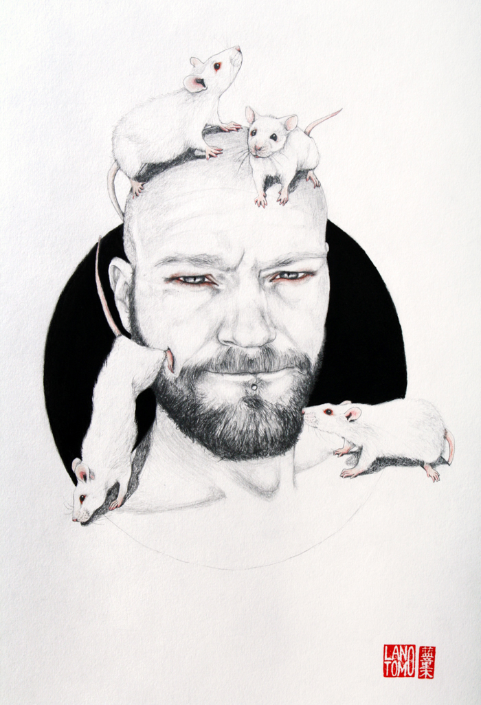 Illustrations and on Paper and Wood by Antonella Montes (aka Lantomo): AS-LAB-RATS-02-RED.jpg