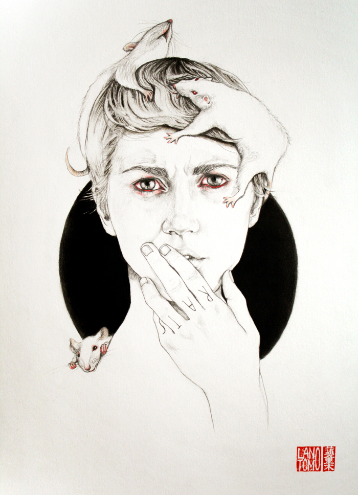 Illustrations and on Paper and Wood by Antonella Montes (aka Lantomo): como-ratas-RED.jpg