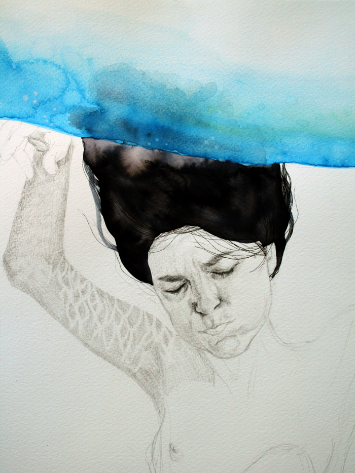 Illustrations and on Paper and Wood by Antonella Montes (aka Lantomo): dreaming-the-water01-RED.jpg