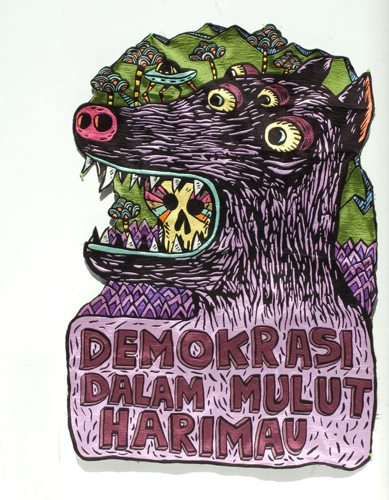 The Work of Eko Nugroho: Demokrasi-Dalam-Mulut-Harimau-2011-embroidery-128x-89cm.jpg