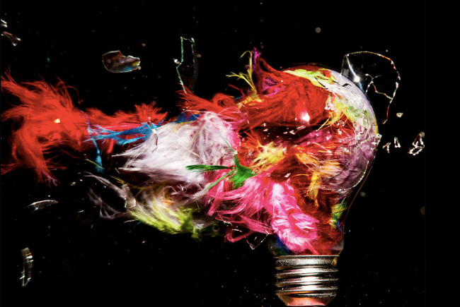 Photographs of Paint and Objects Exploding out of Light Bulbs : Jon-Smith-4-650x435.jpg