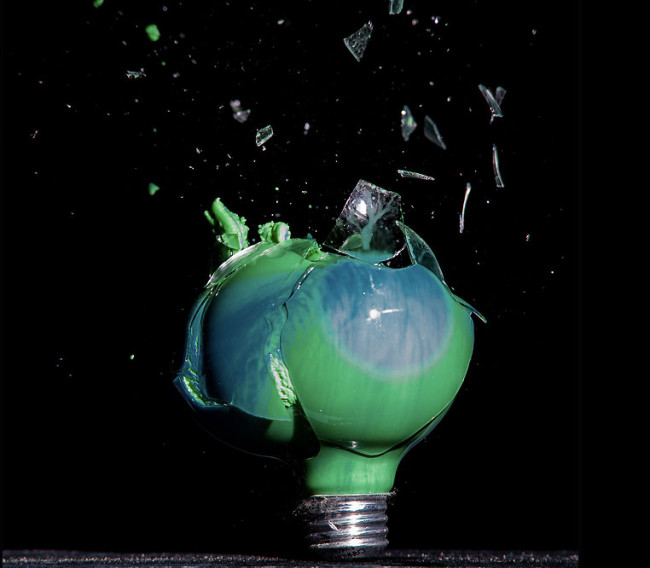 Photographs of Paint and Objects Exploding out of Light Bulbs : Jon-Smith-5-650x568.jpg