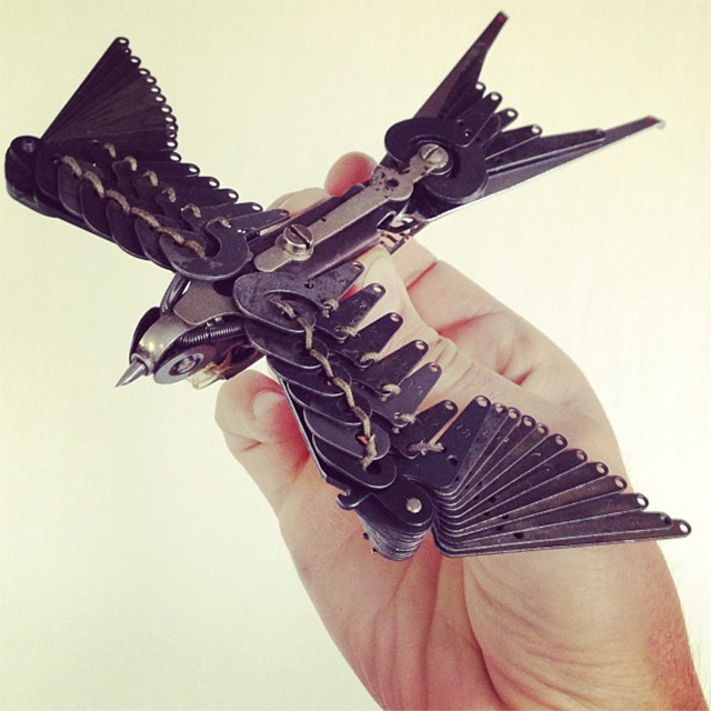 Sculptures Made From Old Typwriters by Jeremy Mayer: swallows-4.jpg