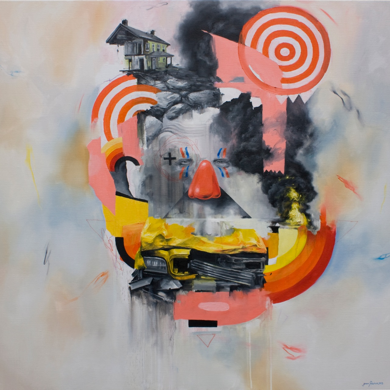 Preview: Joram Roukes, Adam Caldwell, Ekundayo + Rodrigo Luff @ Thinkspace, Culver City: Joram fire,crash, potato.jpg