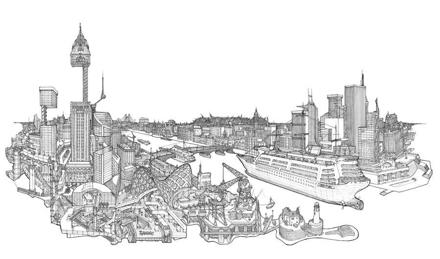 Impossible Architectural Illustrations by Toby Melville-Brown: city_barriers_900_2048.png