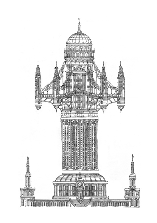 Impossible Architectural Illustrations by Toby Melville-Brown: tower_1_website_5.jpg