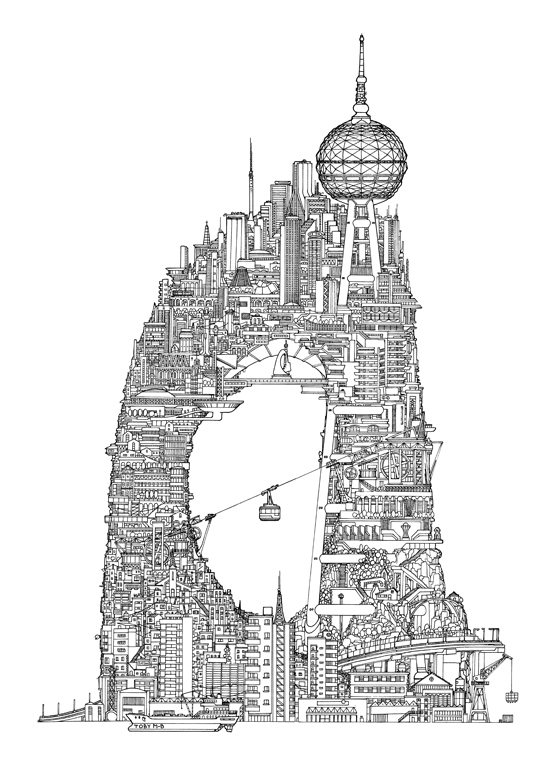 Impossible Architectural Illustrations by Toby Melville-Brown: tower_2_website.jpg