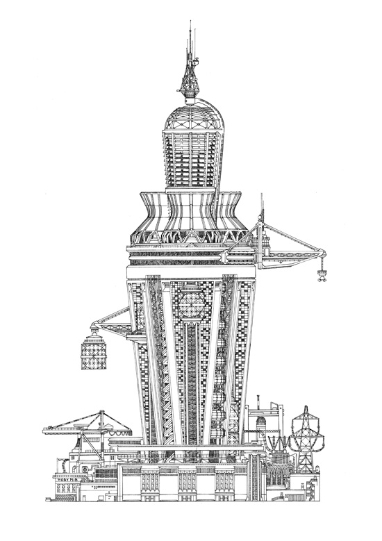 Impossible Architectural Illustrations by Toby Melville-Brown: tower_3_website.jpg