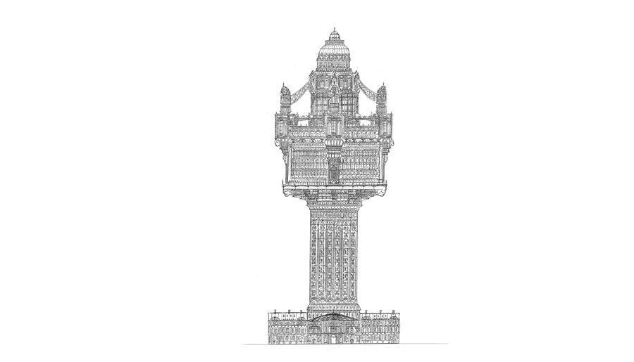 Impossible Architectural Illustrations by Toby Melville-Brown: towers3_900x650__2_2048.png