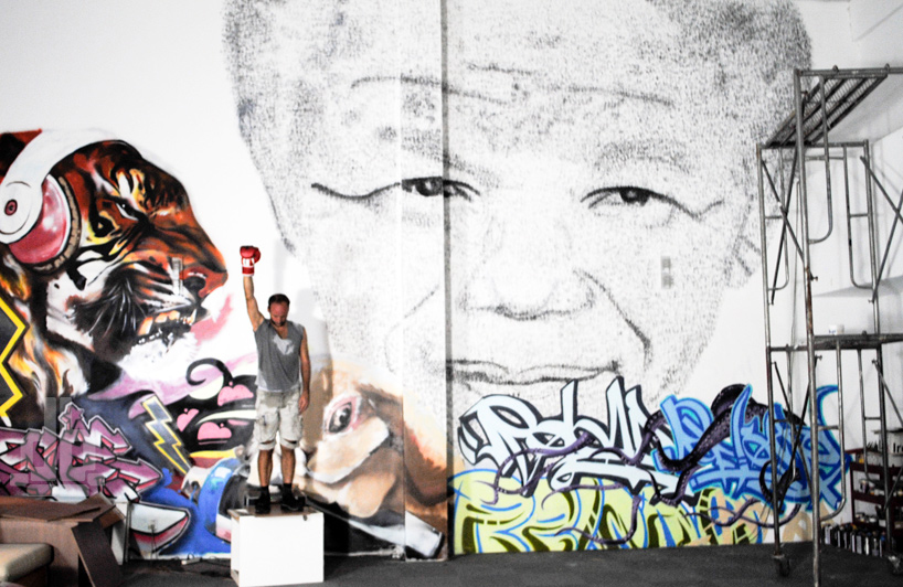 Watch: Phil Akashi Paints Mandela Portrait with 27,000 Punches: tribute-to-nelson-mandela-philakashi-designboom01.jpg