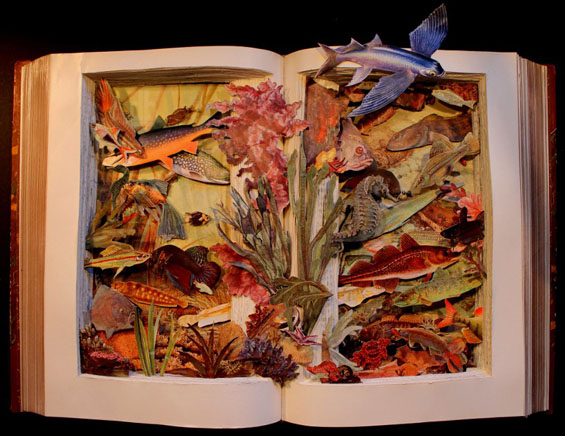 Dissected Book Art by Kerry Miller: carved-3d-books-kerry-miller-designboom01.jpg