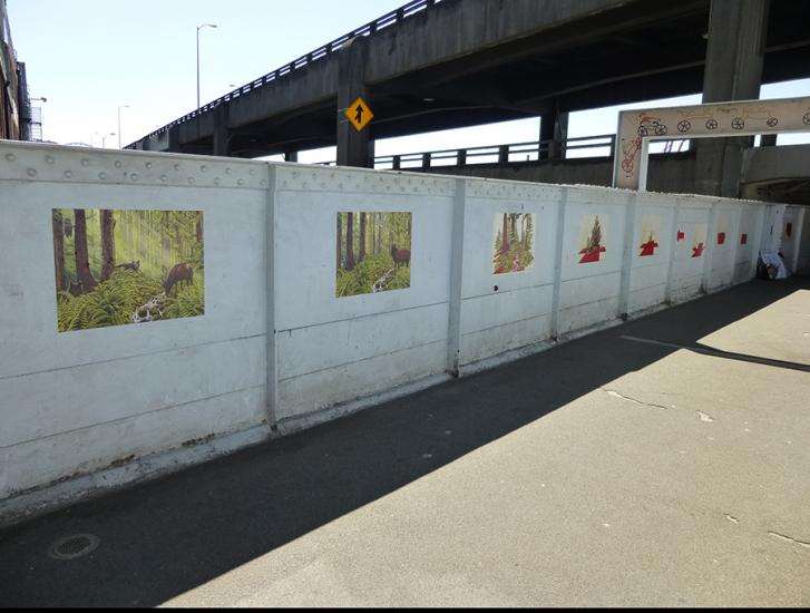 Mary Iverson Public Art on Marion Street pedestrian overpass, Seattle : flip_street_east.jpg