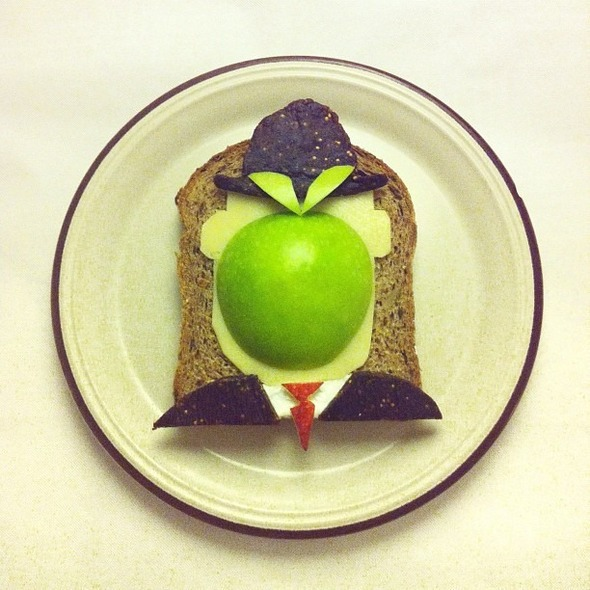Famous Paintings Recreated with Food... as in Sandwiches... : Magritte.jpg