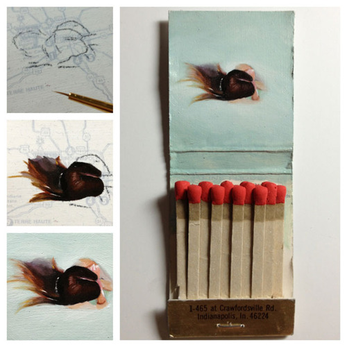 Matchbook Paintings by Joseph Martinez: head-above-water.jpg