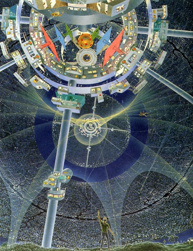 NASA's Space Station Concept Drawings From the '70s : psychedelic-space-station-concepts-3.jpg