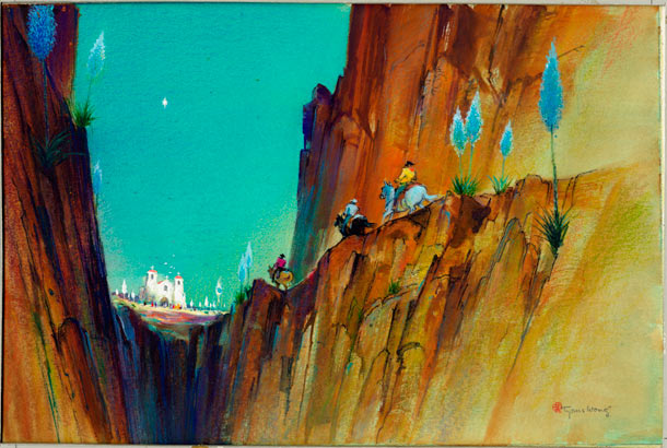 "Tyrus Wong ""Water to Paper, Paint to Sky"" @ Disney Family Museum, SF: 25.-WDFM_Wong_Vaqueros.jpg"