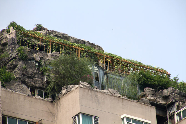 Man Builds Mountain Villa on Beijing Apartment Building: mountain-3.jpg