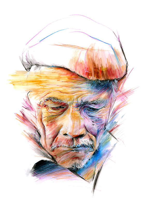 Art by Thomas Daniel Fowler: OLD MAN COLOUR FACE SAD for web.jpg