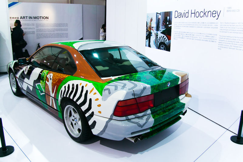 The BMW Art Car: 800px-1995_BMW_850_CSi_Art_Car_by_David_Hockney_-_Left_rear.jpg