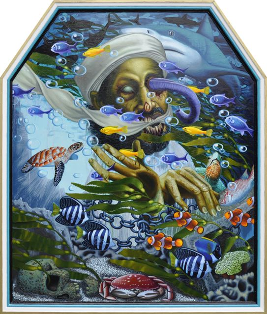 Paintings by Tom Sanford: Watery_Grave_Osama_1.jpg