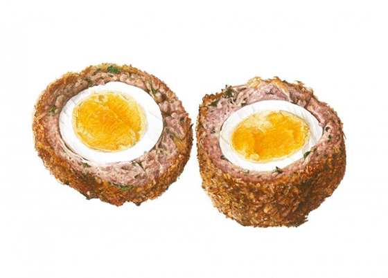 Fiona Strickland's Incredible Watercolor Work: 090-Scotch-Eggs-650x466.jpg