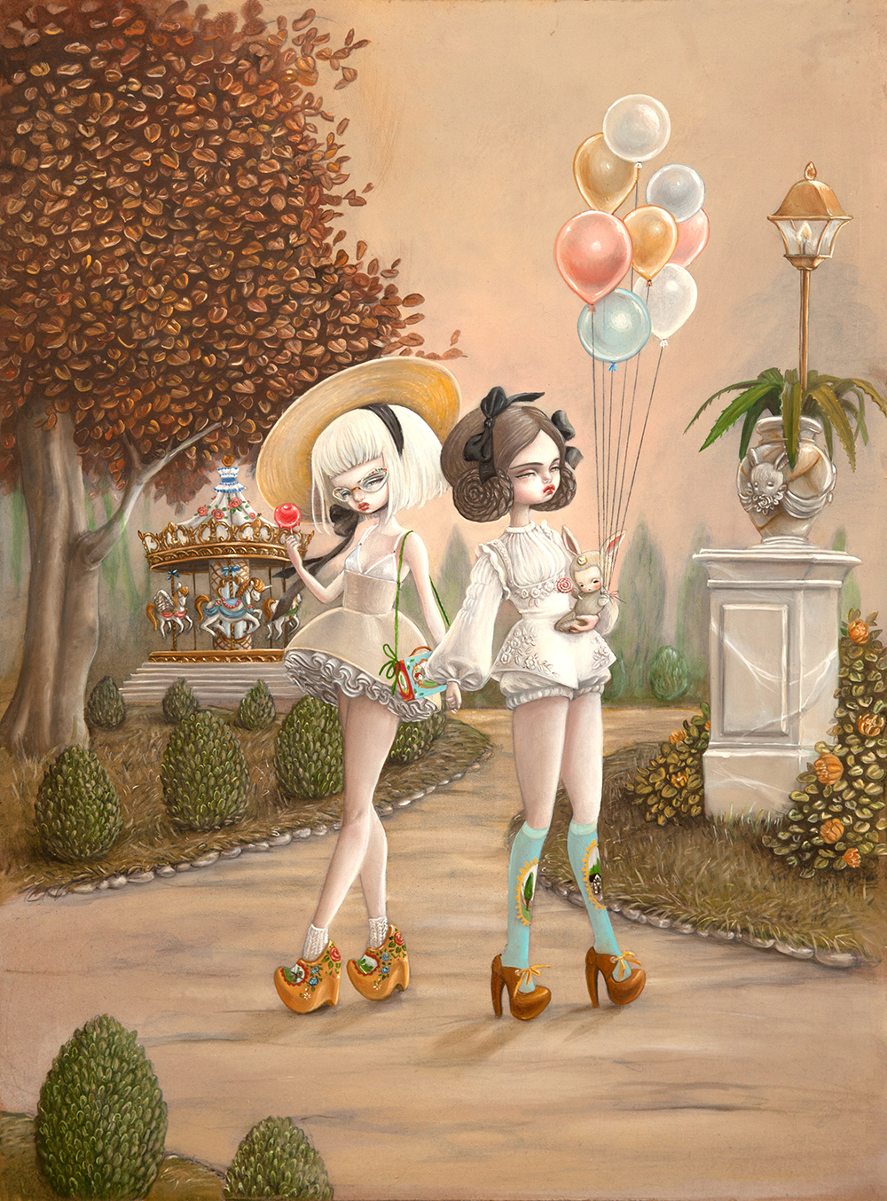 Kukula and Amy Sol @ Corey Helford Gallery, LA: KUKULA at CHG Lena & Mira's Last Days Of Autumn.jpg
