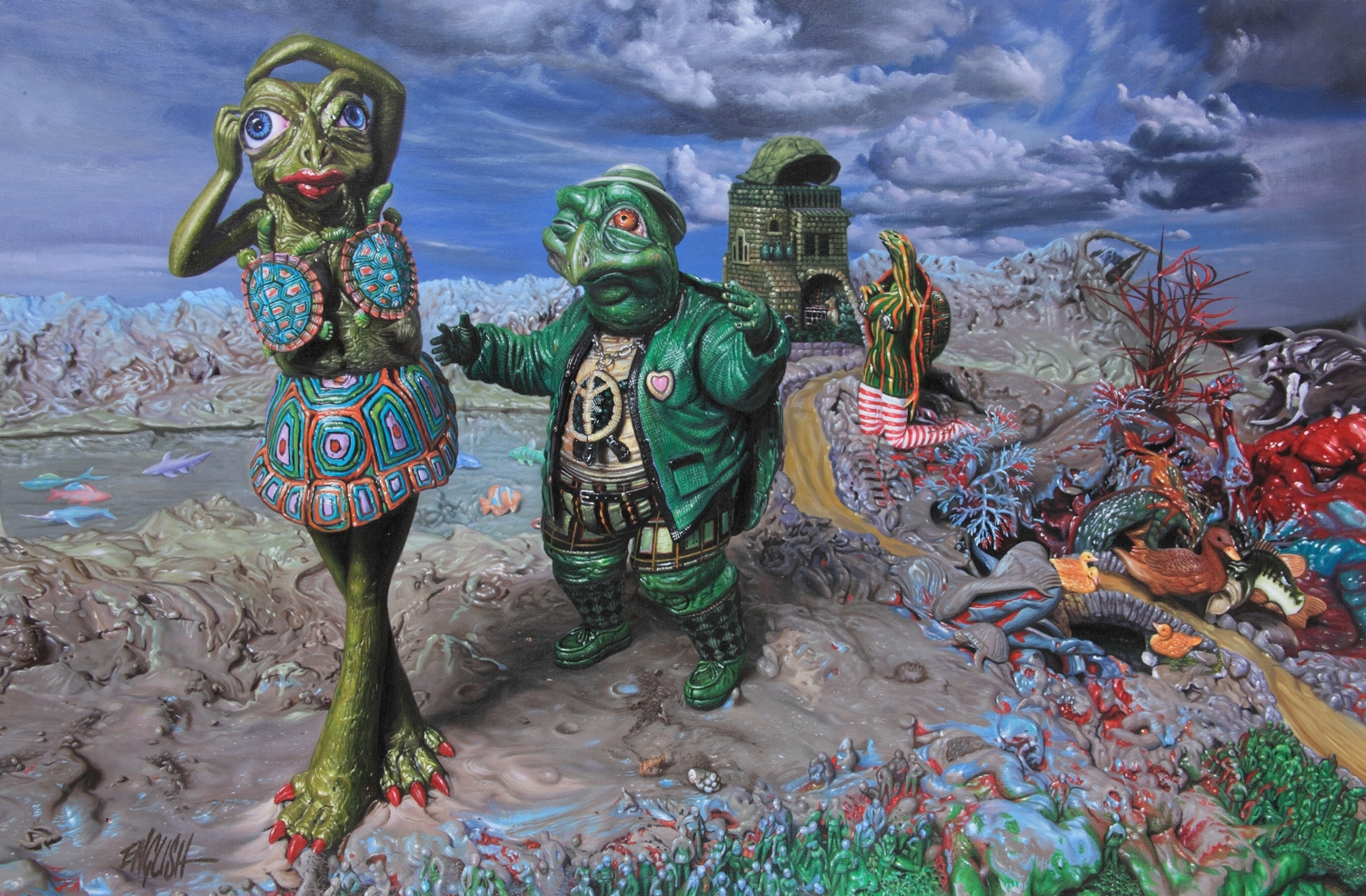 "Sneak Peek: Ron English ""Popagandastan"" @ Corey Helford Gallery, opening October 26, 2013: mr and mrs snapper.ptg24x36.JPG"