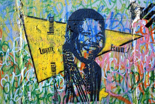 Third Annual Artworks for the Cure @ The Barker Hangar, Santa Monica: Berlin-Wall-Knelson-mandela.jpg
