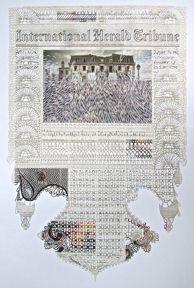 Intricately Cut Newspapers by Myriam Dion: dion-3.jpg
