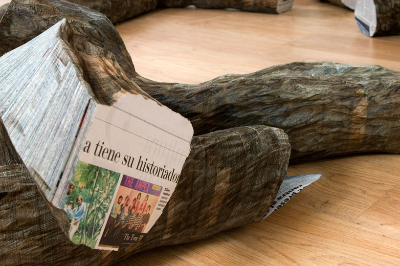 Tree Trunks Made from Stacked Newspapers: miler-lagos-fragments-of-time-newspaper-trees-designboom-02.jpg