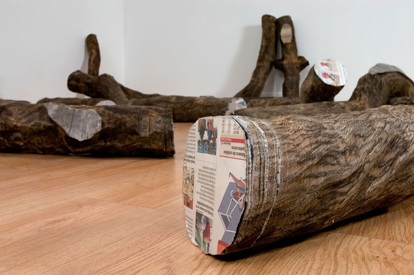 Tree Trunks Made from Stacked Newspapers: miler-lagos-fragments-of-time-newspaper-trees-designboom-05.jpg