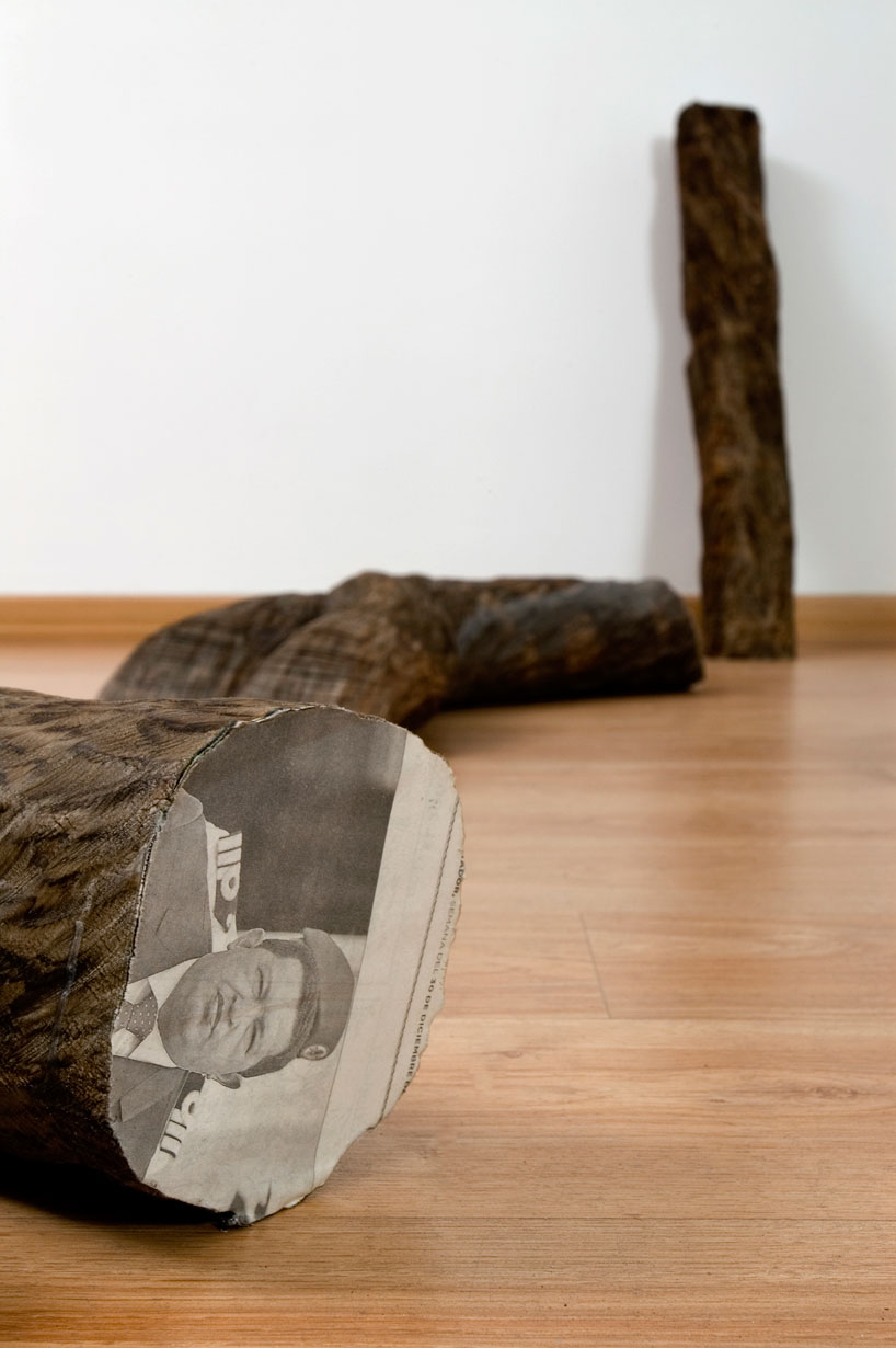 Tree Trunks Made from Stacked Newspapers: miler-lagos-fragments-of-time-newspaper-trees-designboom-06.jpg