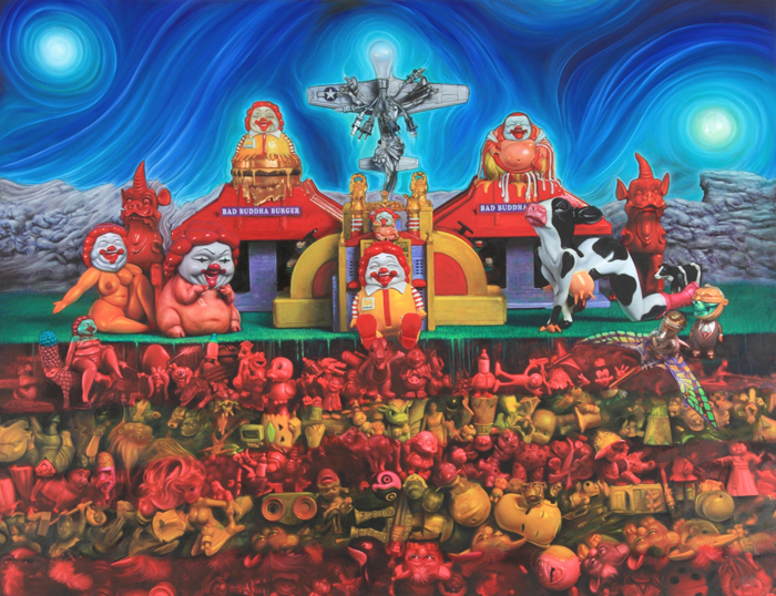 "Preview: RON ENGLISH ""POPAGANDASTAN"" @ COREY HELFORD GALLERY, Culver City: bad buddha building.ptg50x65.JPG"