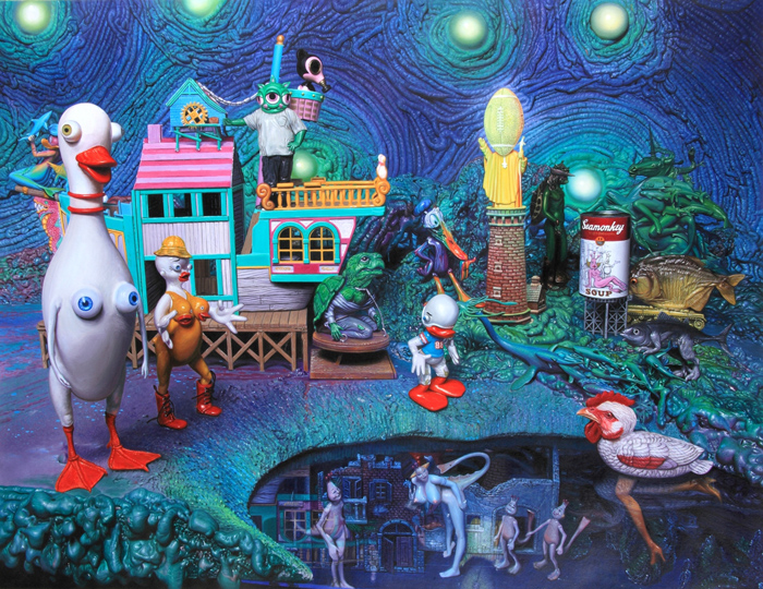 "Preview: RON ENGLISH ""POPAGANDASTAN"" @ COREY HELFORD GALLERY, Culver City: quack house.ptg36x46.JPG"