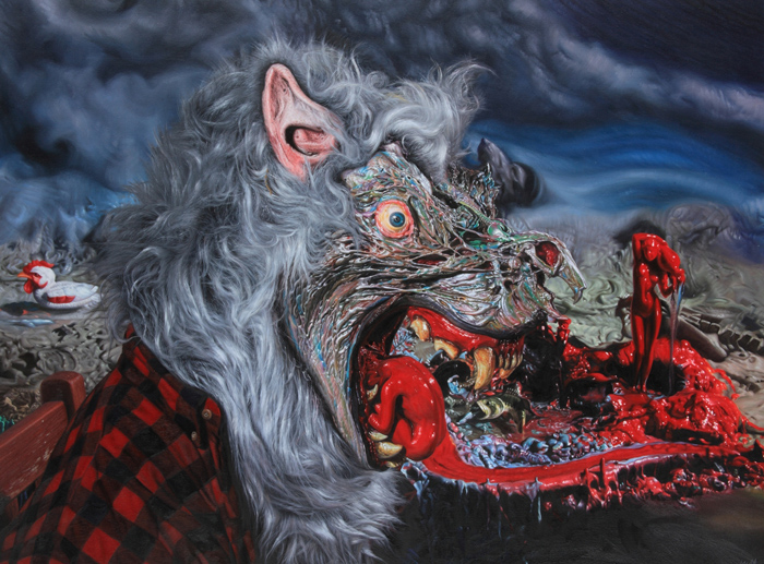 "Preview: RON ENGLISH ""POPAGANDASTAN"" @ COREY HELFORD GALLERY, Culver City: wolf profile.ptg36x48.JPG"