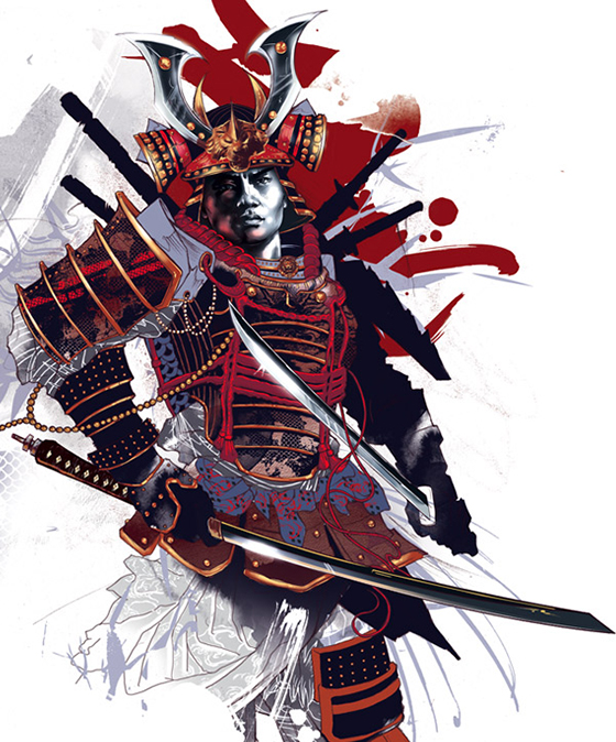 The Bold Digital Work of Kent Floris: SamuraiFull.jpg