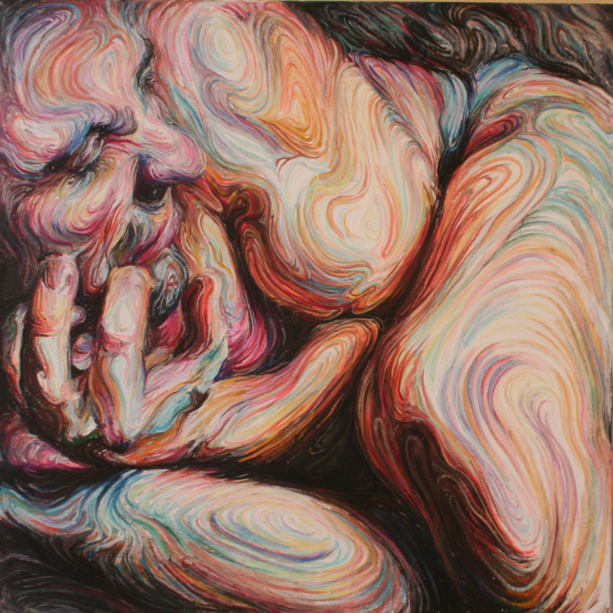 Nikos Gyftakis's Liquid Portraits: self portrait, oil pastel on canvas, 100cmx100cm.jpg