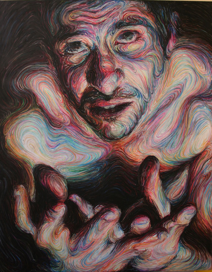 Nikos Gyftakis's Liquid Portraits: self portrait,oil pastel on canvas h190xw150cm.jpg