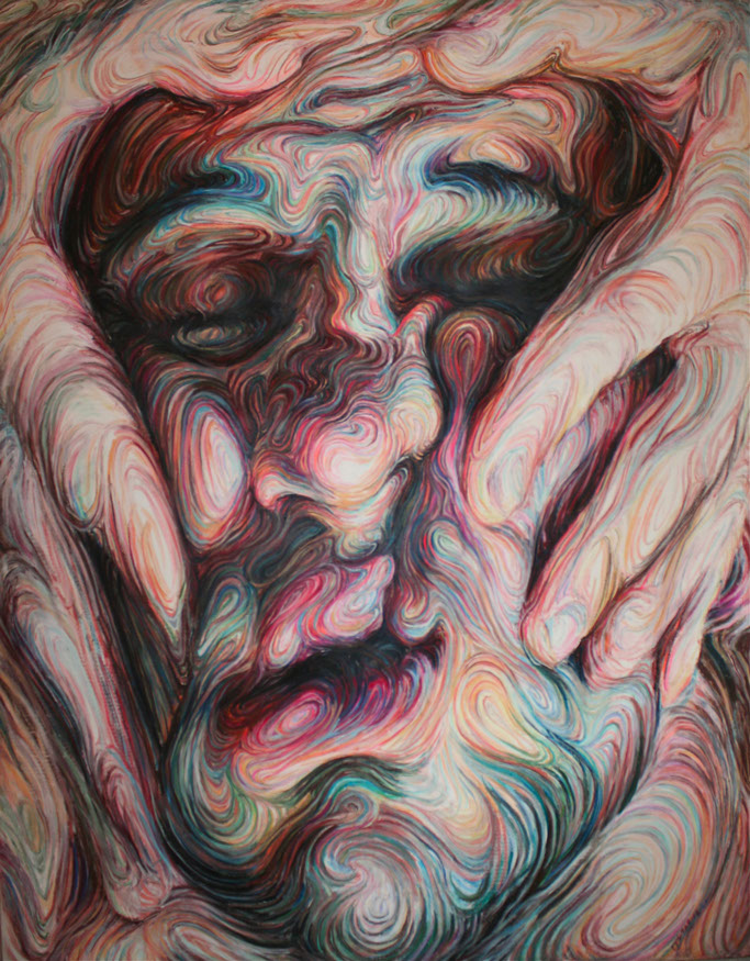 Nikos Gyftakis's Liquid Portraits: self portrait,oil pastel on canvas,h190xw150cm.jpg