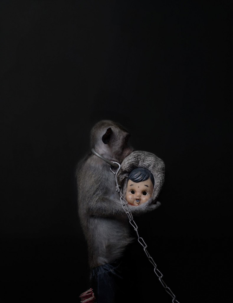Creepy Photos of Monkeys Wearing Doll Masks: Perttu-Saksa_web11-790x1024.jpg