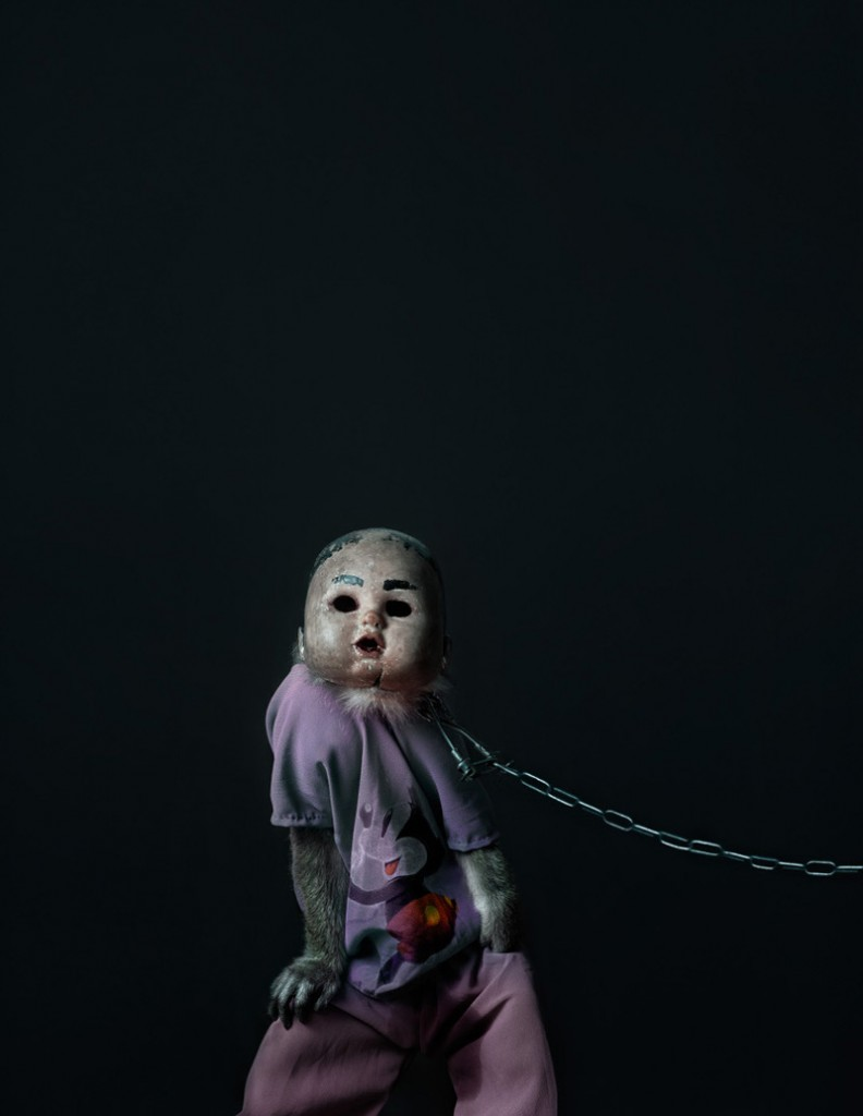Creepy Photos of Monkeys Wearing Doll Masks: Perttu-Saksa_web14-792x1024.jpg