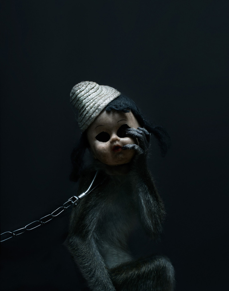 Creepy Photos of Monkeys Wearing Doll Masks: Perttu-Saksa_web17.jpg