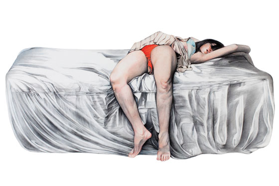 Marianna Ignataki's Eroticism: woman-lying-in-bed-2010-90x141cm-color-pencils-on-paper.jpg