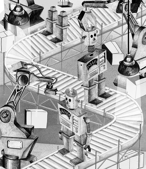 British illustrator Nathan Hackett: 38_robot-factory.jpg