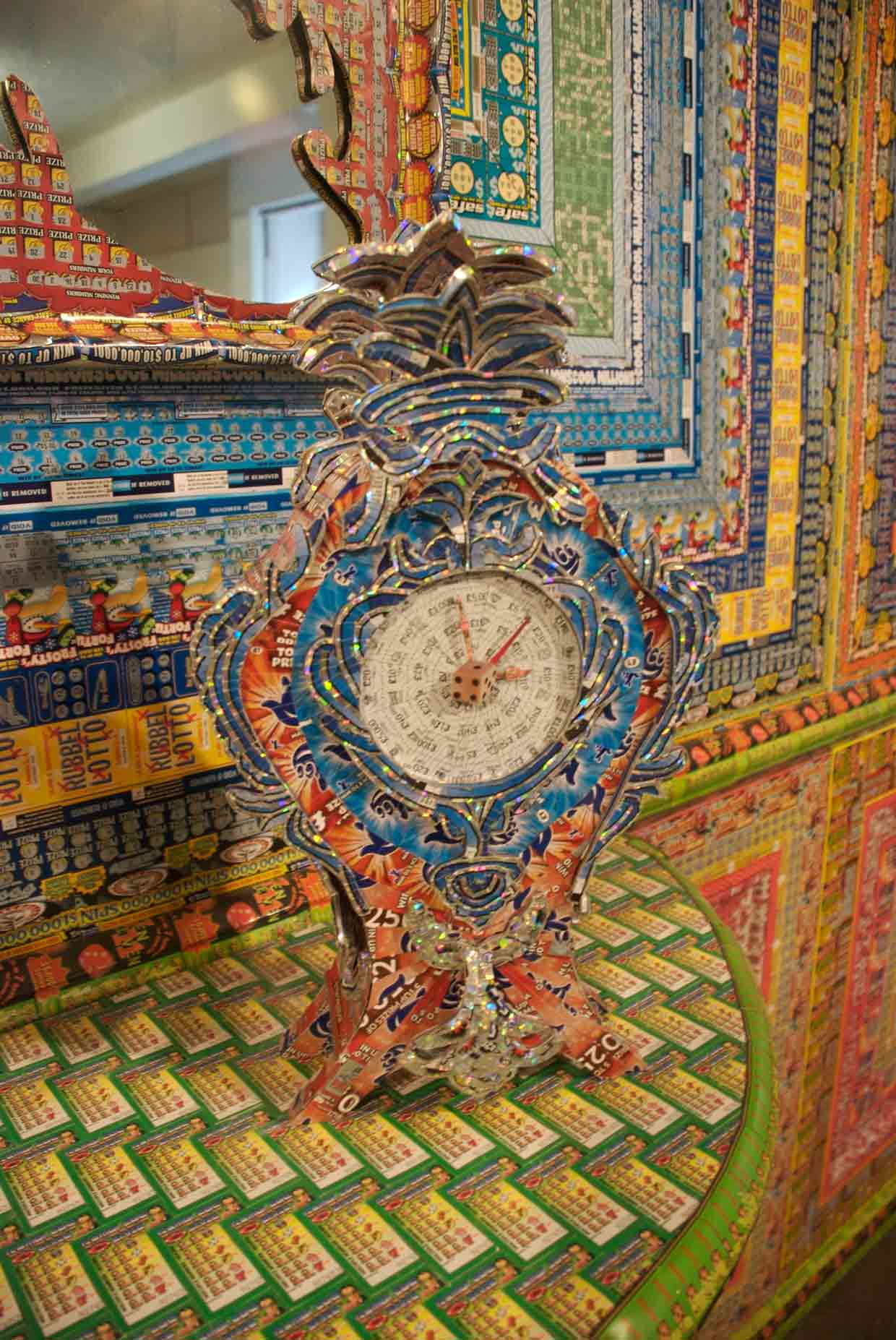 Installations Constructed From Discarded Lottery Tickets: dream_home_clock.jpg