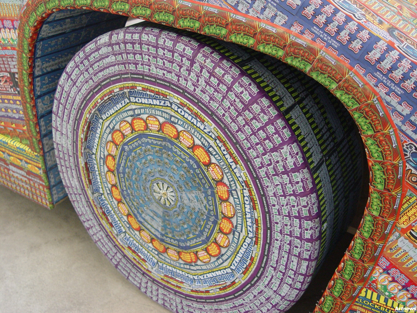 Installations Constructed From Discarded Lottery Tickets: dream_ride567-wheel.jpg