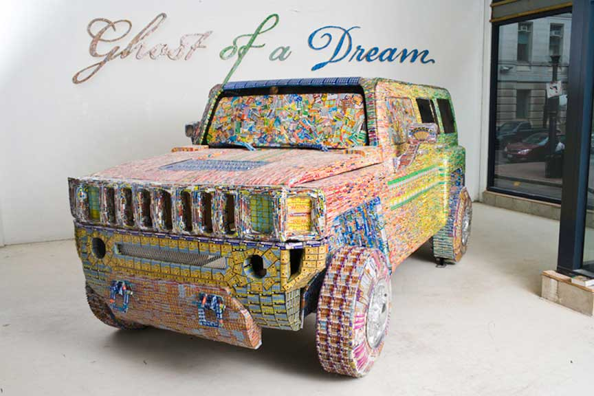 Installations Constructed From Discarded Lottery Tickets: dreamcar.jpg