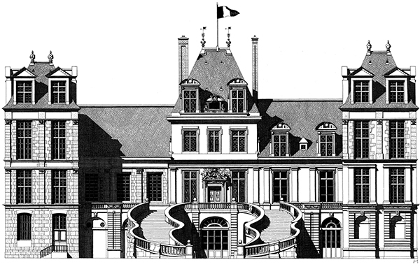 Hand-Drawn Architectural Illustrations by Thibaud Herem: 1362564186-chateau-fontainebleau-thibaud-herem.jpg