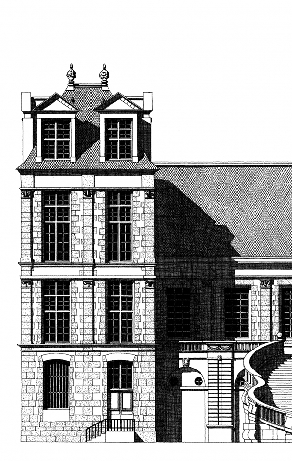 Hand-Drawn Architectural Illustrations by Thibaud Herem: fontainebleau-chateau-thibaud-herem-tour.jpg