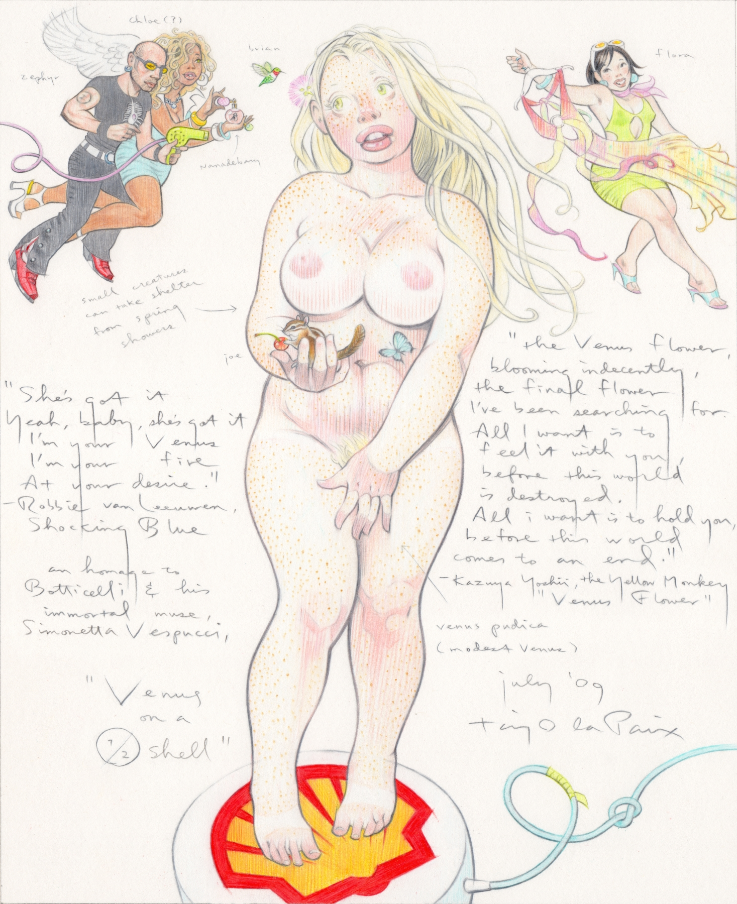 Taiyo La Paix's Muses: venus-on-a-halfshell-2009-pencil-on-paper-12-x-10-inches.JPG